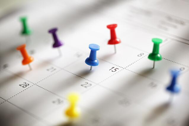 Pins indicating appointments on calendar
