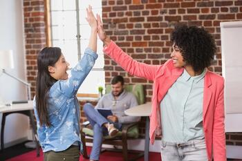 high-five-in-office
