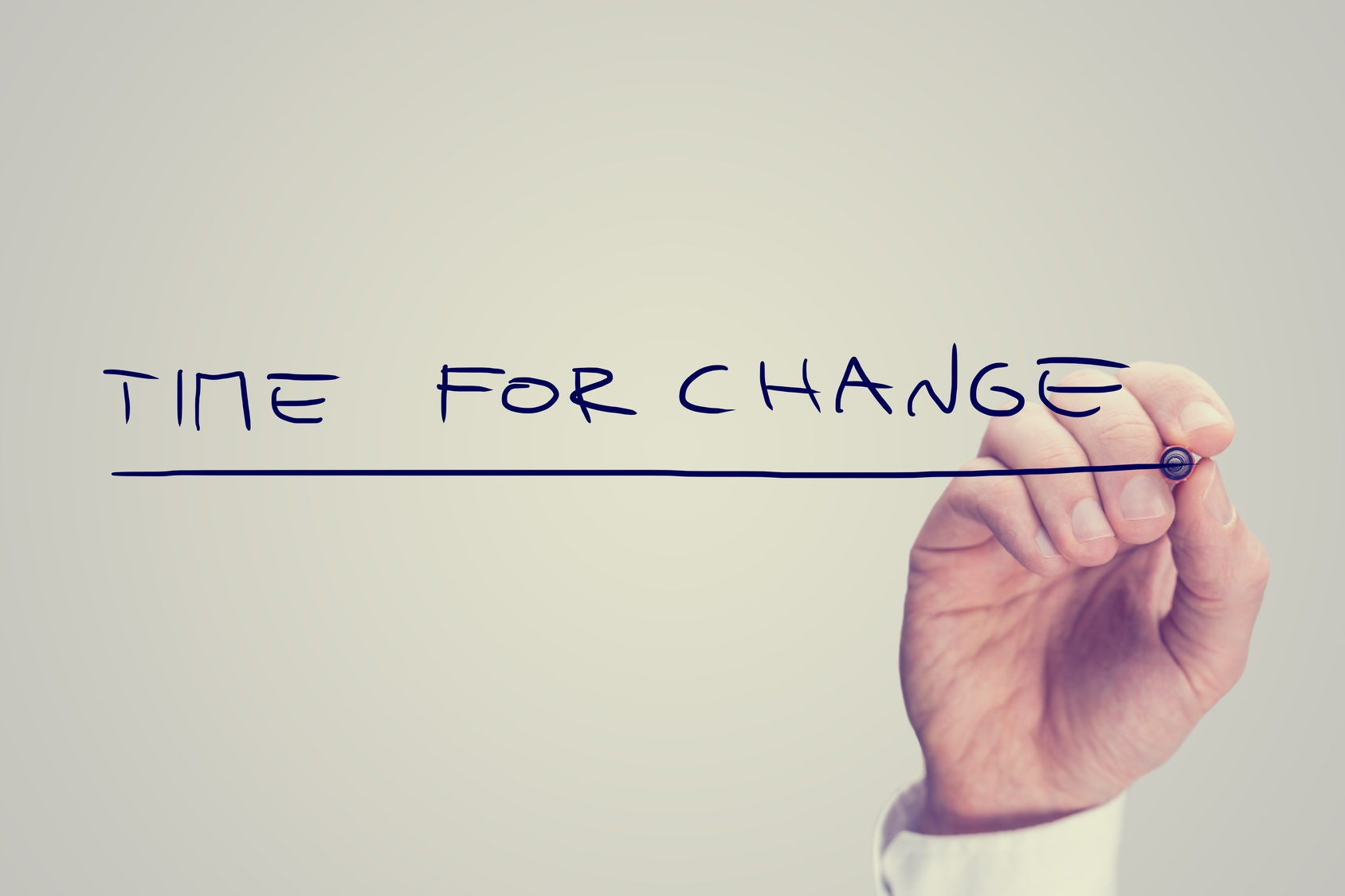 "Hand writing ""Time for change"""